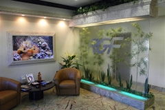 Lobby with aquarium and waterfall
