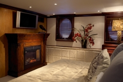 Master stateroom and fireplace