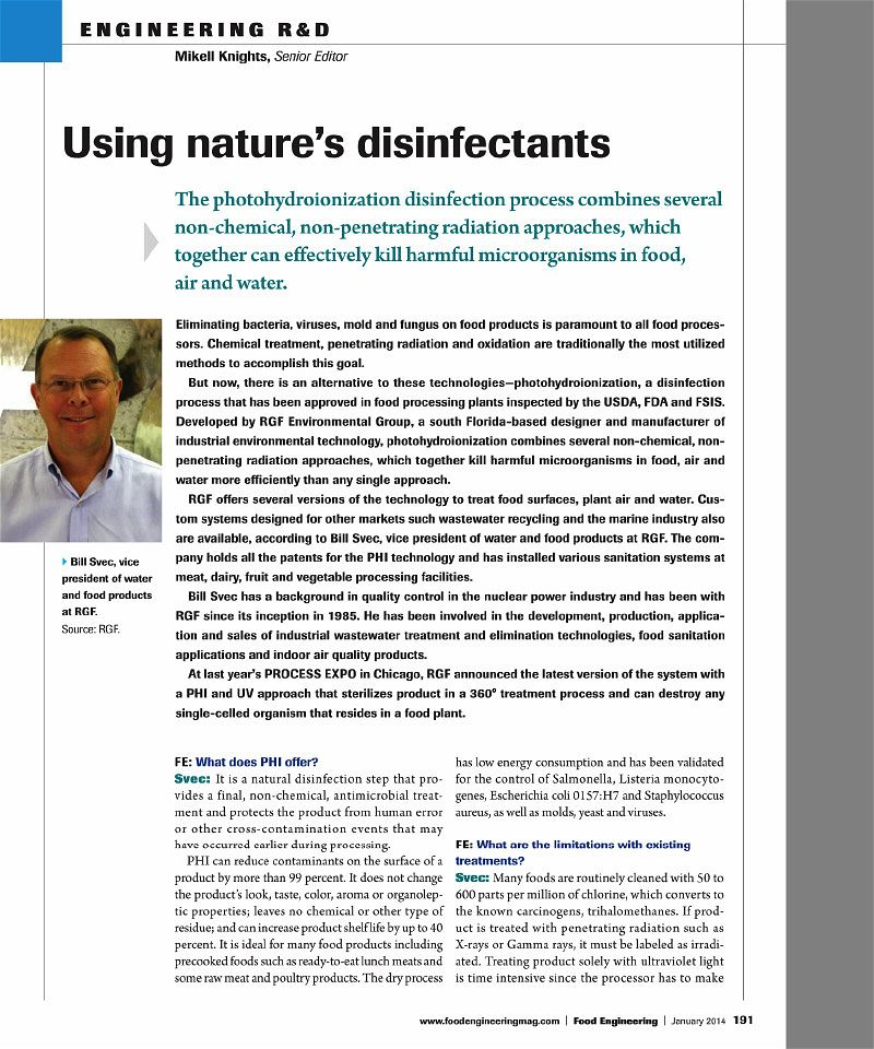 Using Nature's Disinfectants_Food Engineering