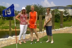 Lisa, Sharon and Louise on the putting green