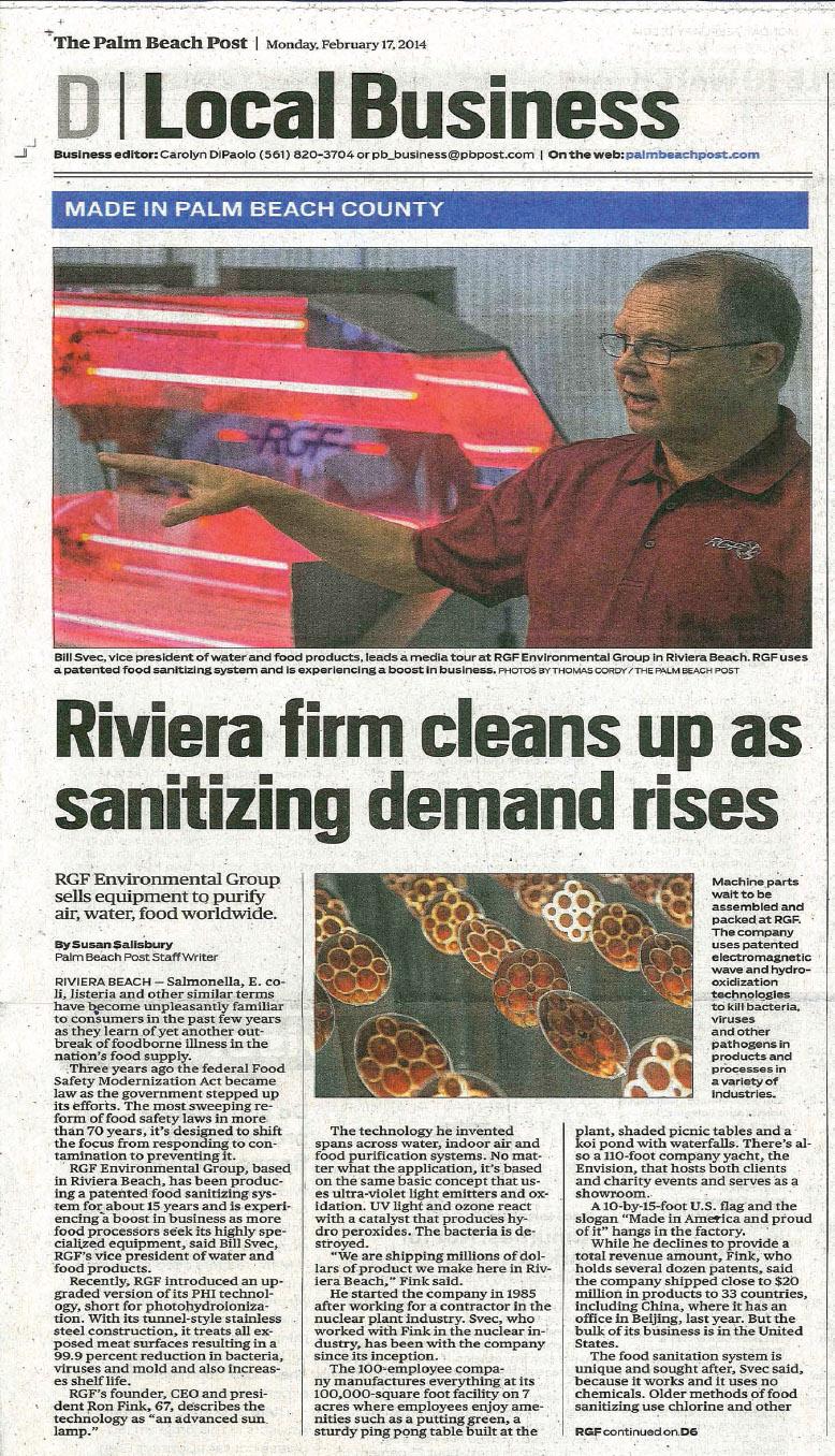 The Palm Beach Post, February 2014 – Sanitation Demands | RGF