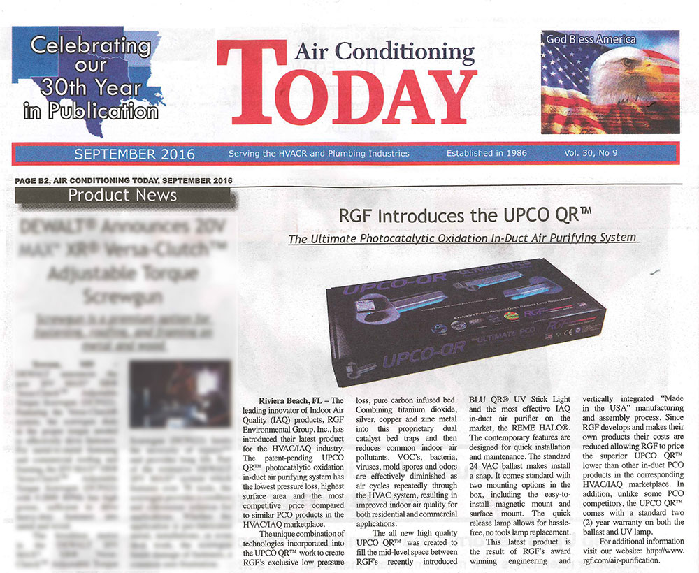 Article in Air Conditioning Today