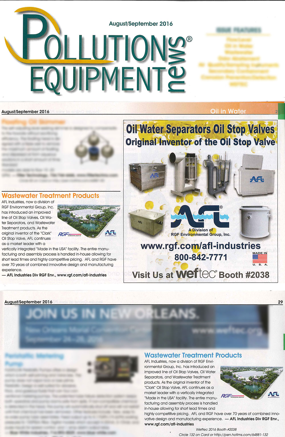 Article in pollution equipment news