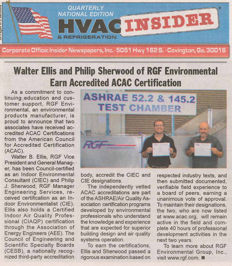Rgf news rgf hvac insider 1st quarter 2016 acac certification fandeluxe Images