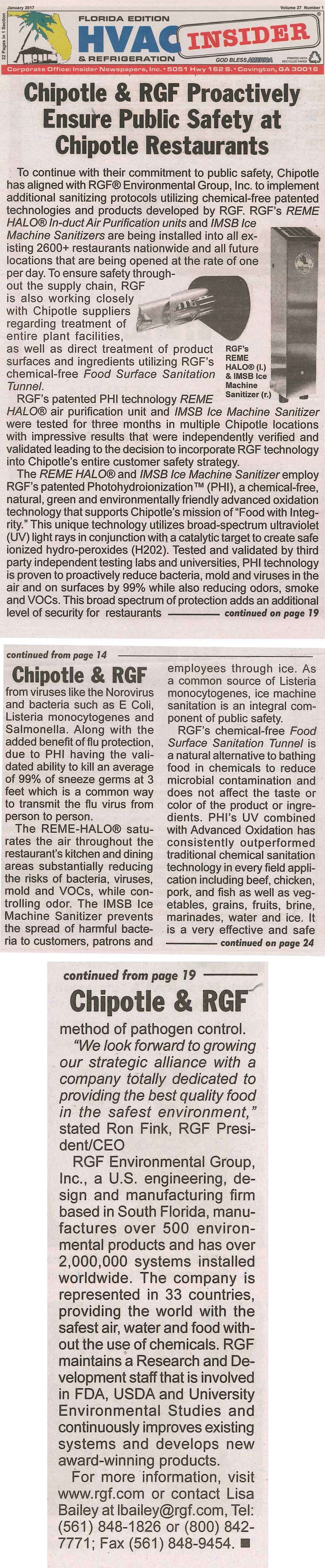 HVAC INSIDER, January 2017 - Chipotle