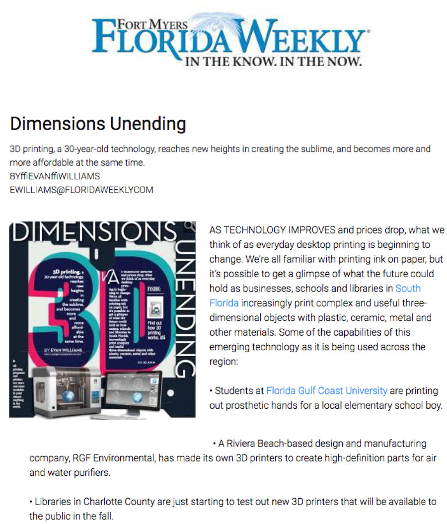 Florida Weekly article about 3-D printers