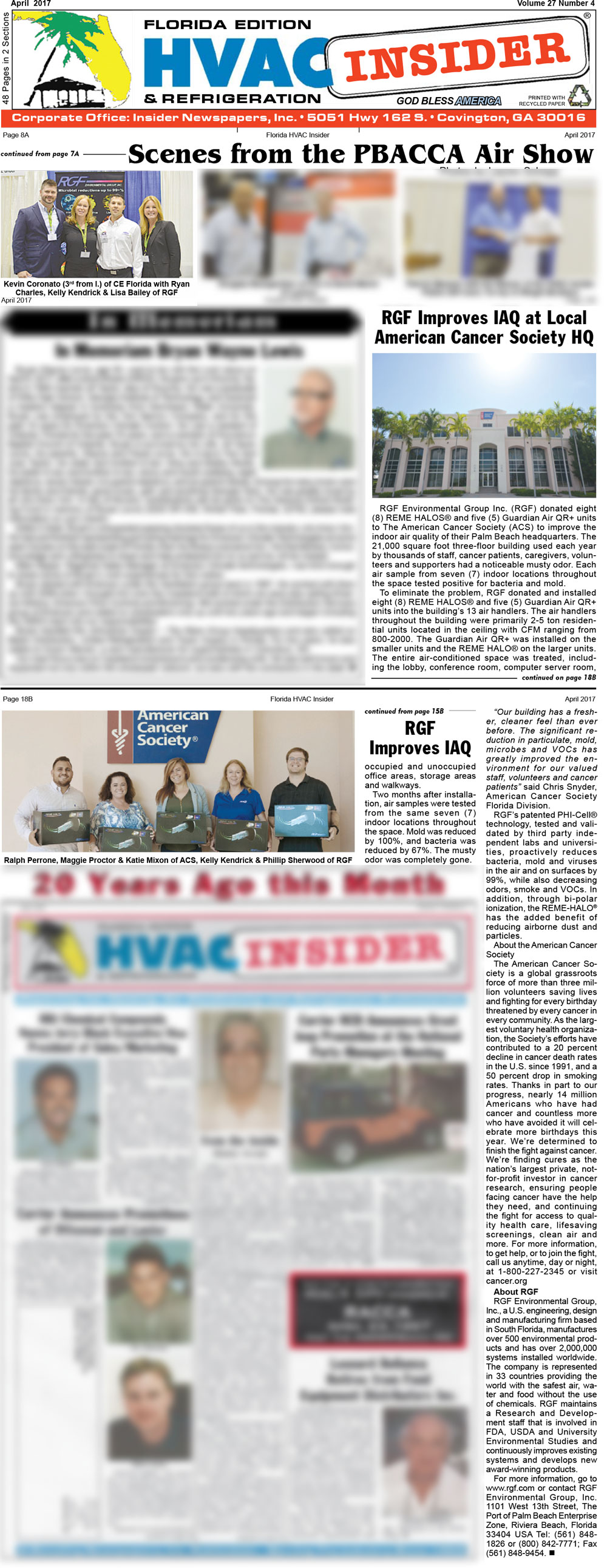 HVAC INSIDER, April 2017 – American Cancer Society