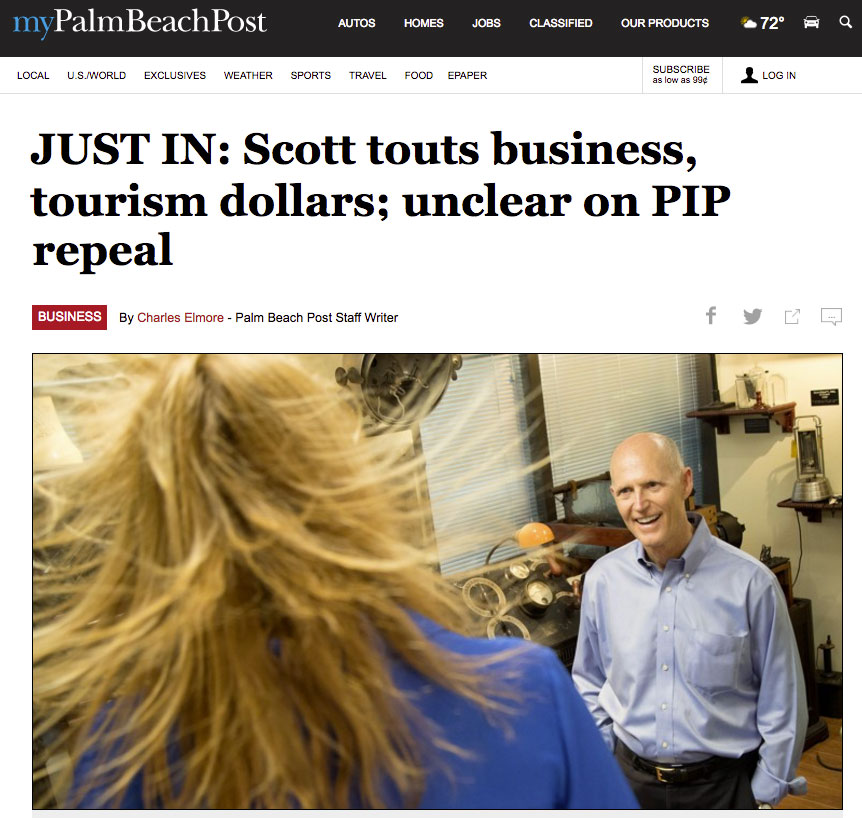 Palm Beach Post, May 2017 - Governor Rick Scott