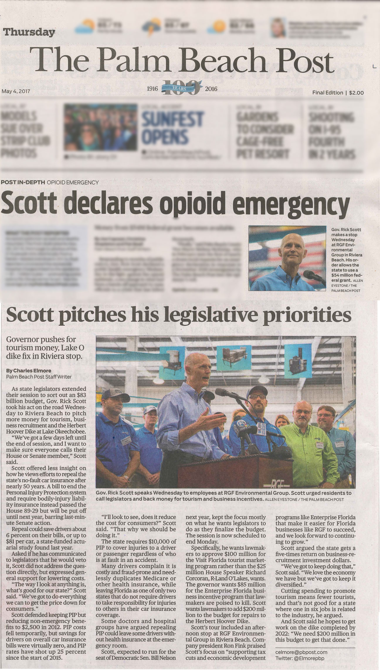 The Palm Beach Post, May 2017 – Governor Rick Scott