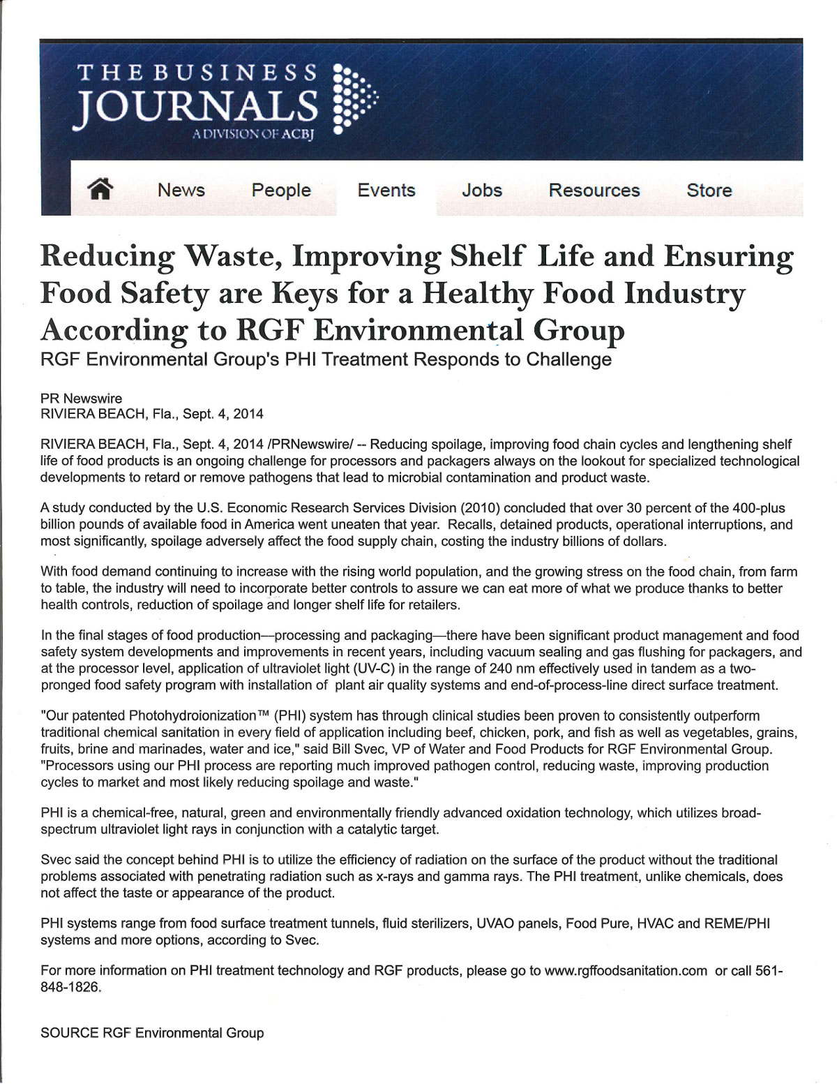 The Business Journals, September 2014 - Food Safety