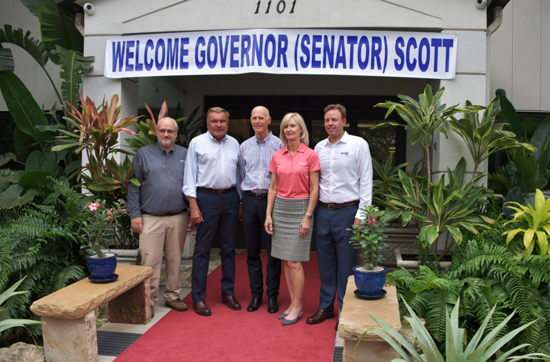 Walter Ellis, Ron Fink, Rick Scott, Sharon Rinehimer and Tony Julian standing in front of RGF