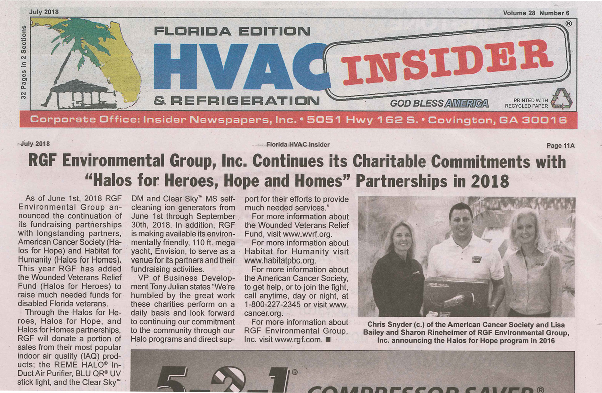 HVAC INSIDER, July 2018 – Halos for Heroes, Hope and Homes