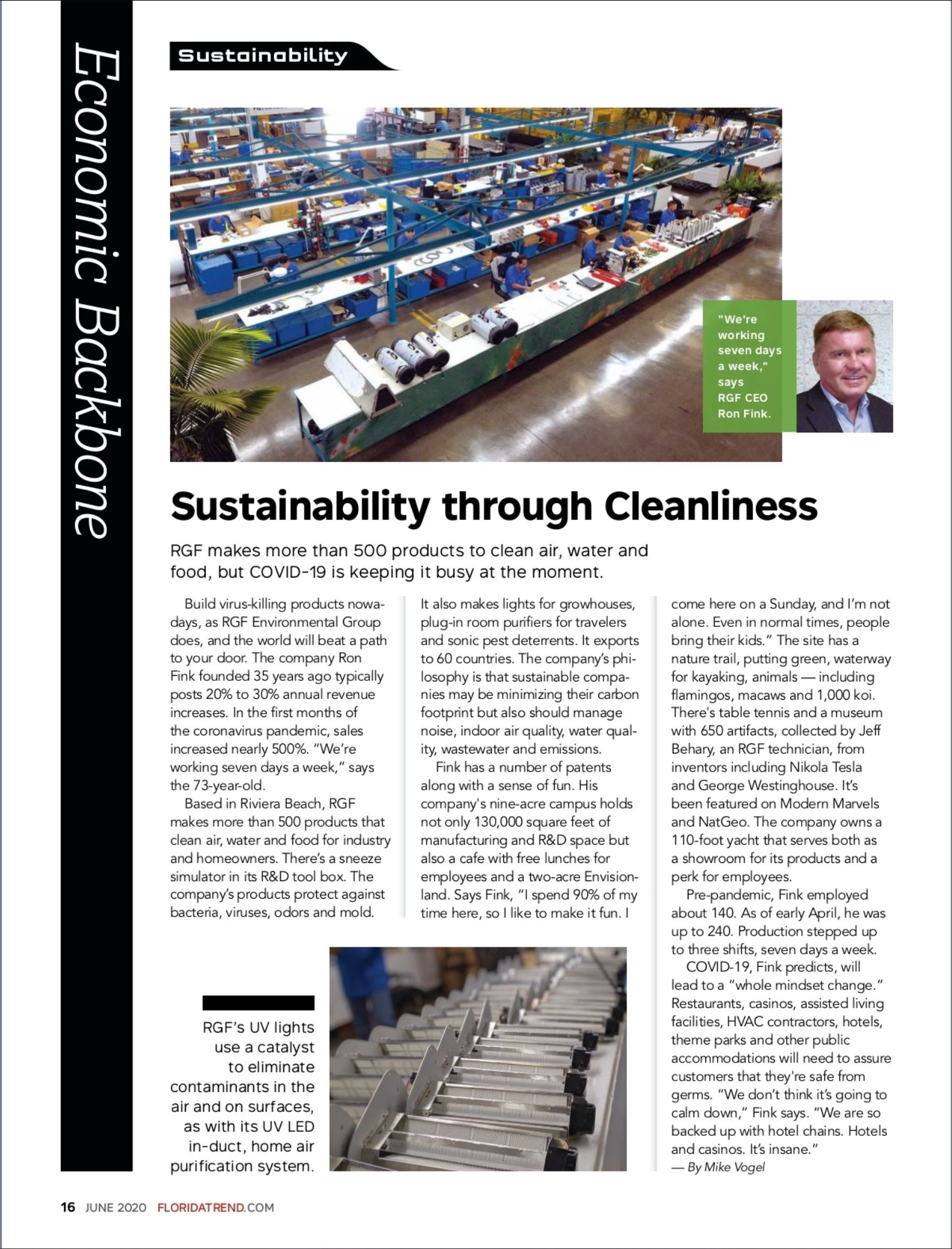 Florida Trend, June 2020 - Sustainability through Cleanliness