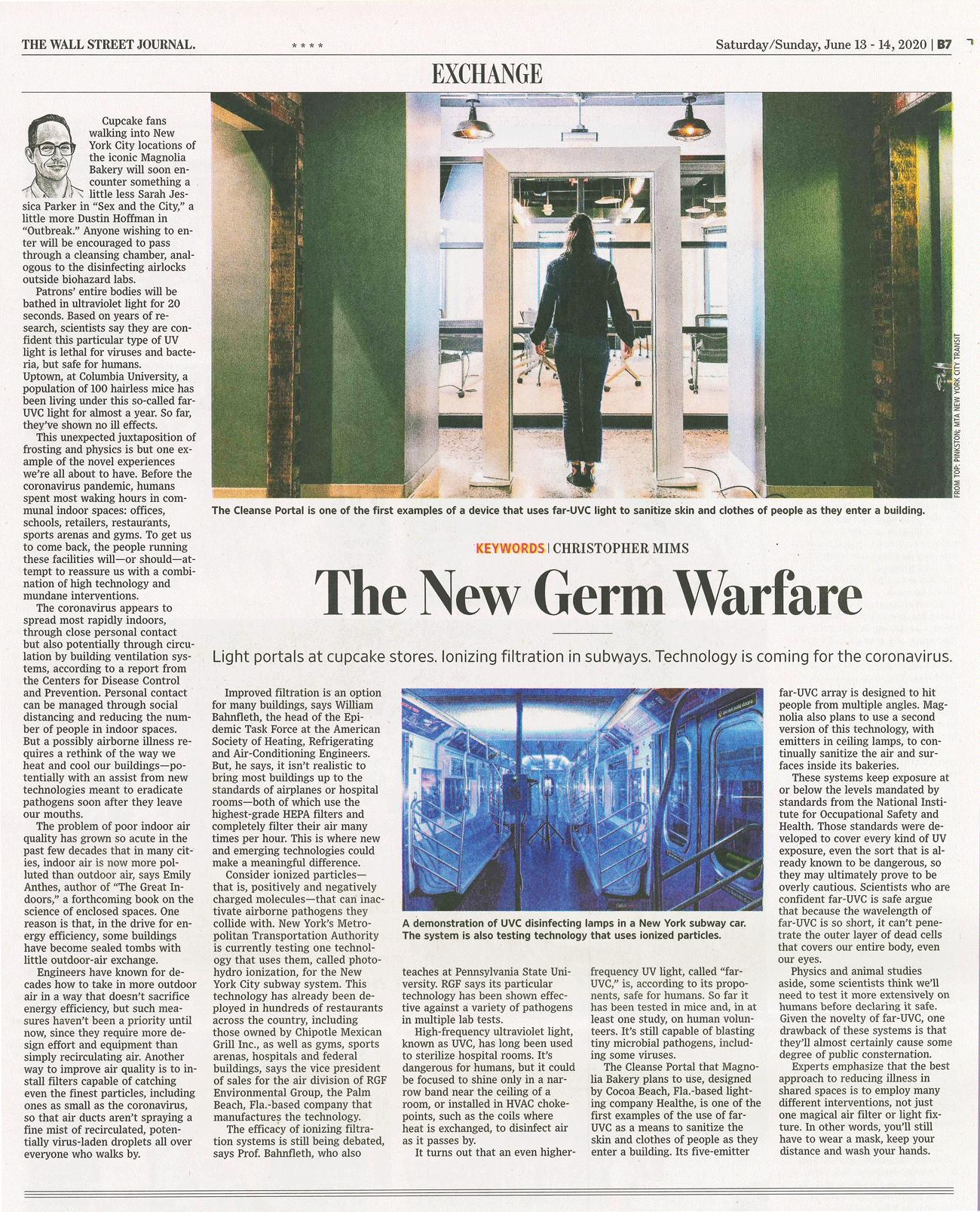 The Wall Street Journal, June 2020 - The New Germ Warfare