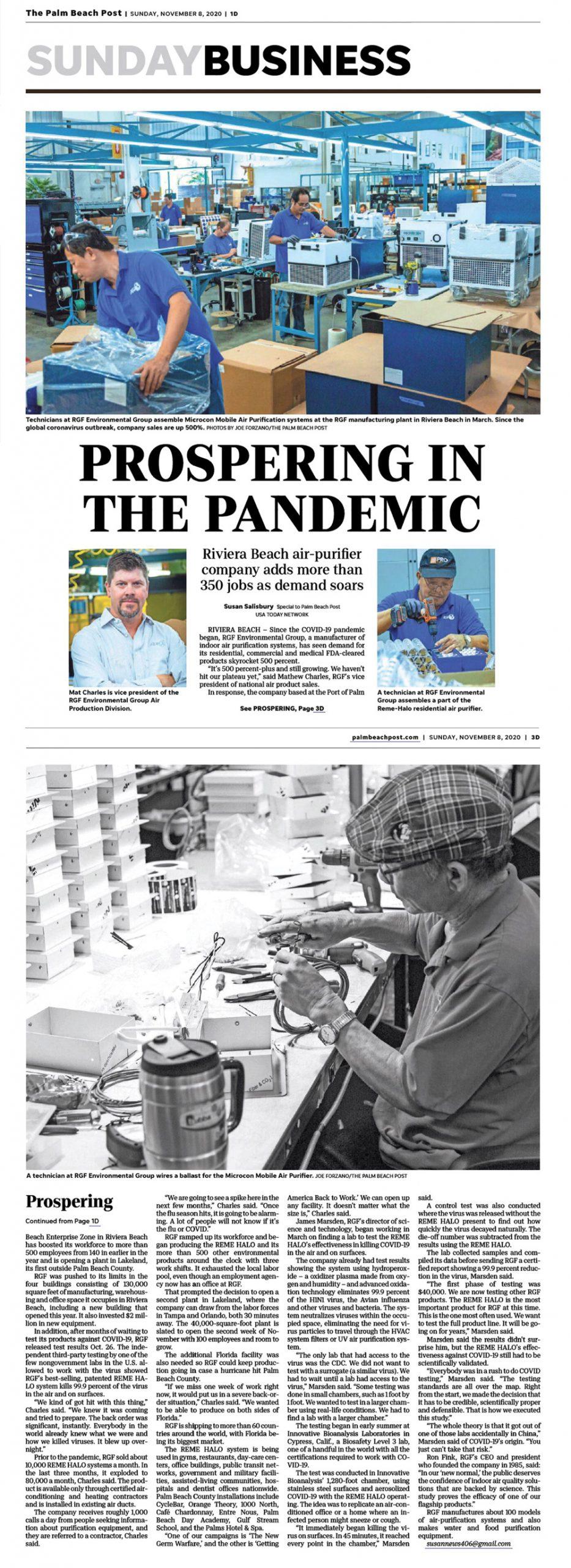 Palm Beach Post, November 2020 - Prospering in the pandemic