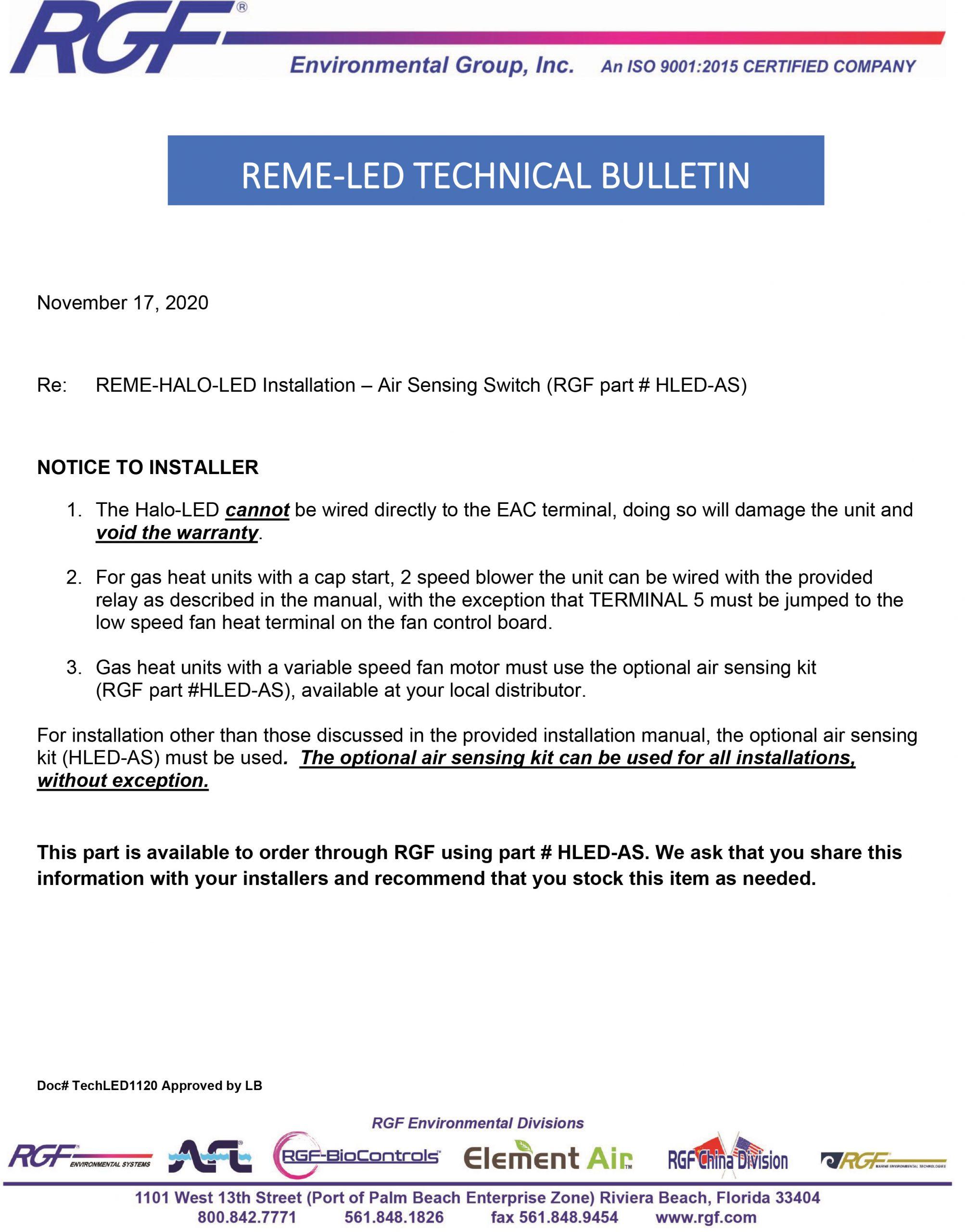 REME LED Technical bulletin