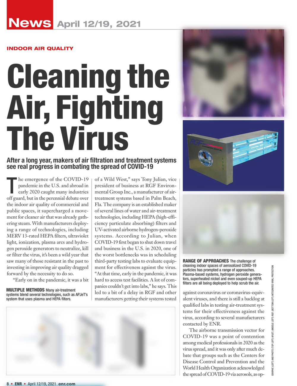 ENR, April 2021 - 'Cleaning the air, fighting the virus'